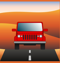 Red car on the road suv rides through the desert vector
