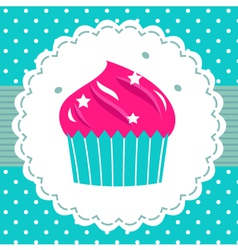 Retro party cupcake template vector image vector image