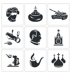 Russia icons set vector