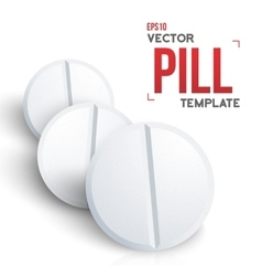 Set of Photorealistic Medicine Pill Isolated on vector image