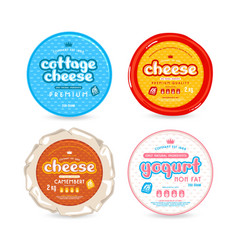Set of template label for cheese and yogurt vector