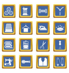 Sewing icons set blue vector