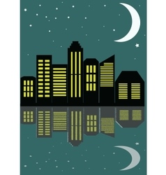 View of the city at night in the flat style vector image