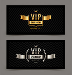 vip golden and silver invitation template vector image vector image