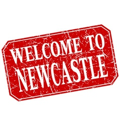 Welcome to newcastle red square grunge stamp vector
