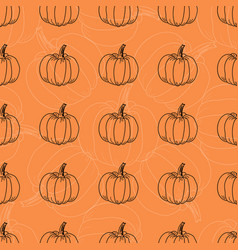 white and black pumpkin pattern contour vector image vector image