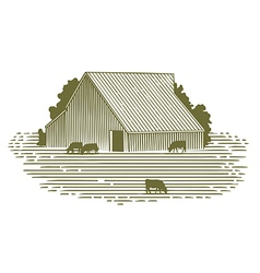 Woodcut Barn and Cattle vector image vector image