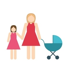 Mother and daughter icon avatar family design vector