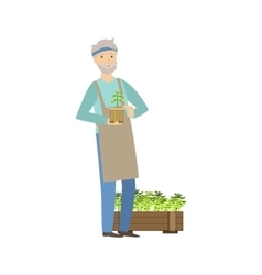 Old man showing his gardening hobby vector