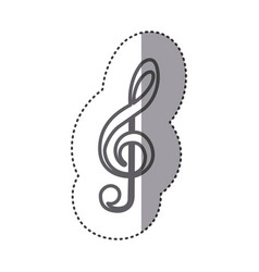 Silhouette sign music note icon vector