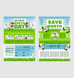 Earth day save planet information poster template vector