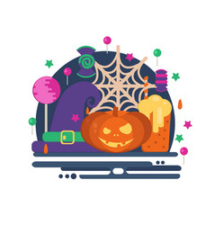 Halloween party concept in flat style vector