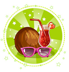 Exotic cocktail glasses and coconut summe vector