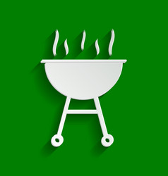 Barbecue simple sign  paper whitish icon vector