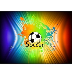Rainbow ink background with soccer ball vector
