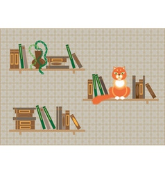 bookshelves and a cat vector image