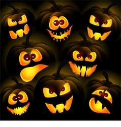 Pumpkins on a dark background vector