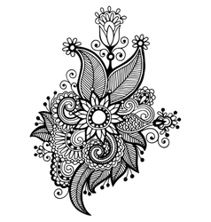 Black line art ornate flower design vector