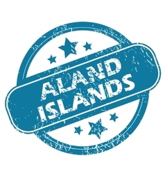 Aland islands round stamp vector