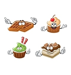 Cartoon cupcakes cake and belgian waffle vector