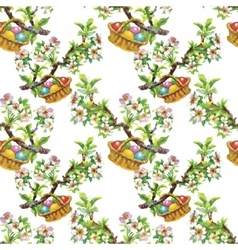 Watercolor seamless easter pattern with colorful vector