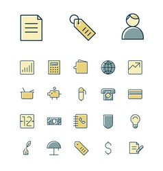 Icons thin blue business finance vector