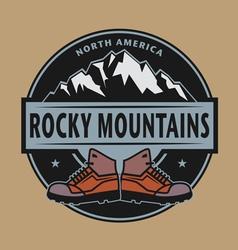Rocky mountains emblem vector