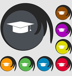 Graduation cap icon symbols on eight colored vector