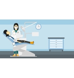 Dentist and woman in dentist chair vector
