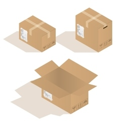 Various cardboard boxes in vector