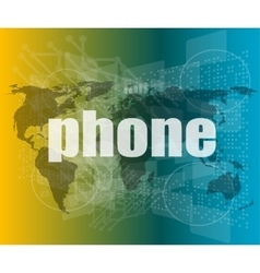 Phone word on digital touch screen business vector