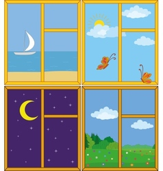 Windows with landscapes vector image