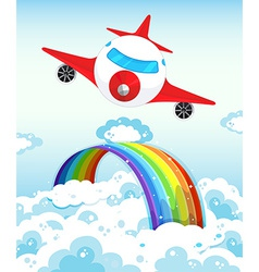 Airplane and rainbow vector