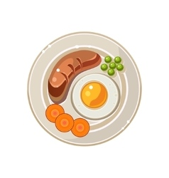 Breakfast serving with a fried egg and sausage vector