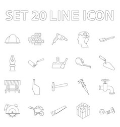 Building and architecture outline icons in set vector