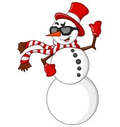 cartoon snowman waving hand vector image vector image