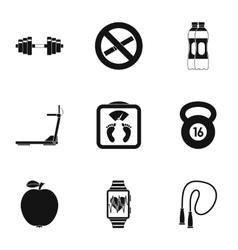 Classes in gym icons set simple style vector