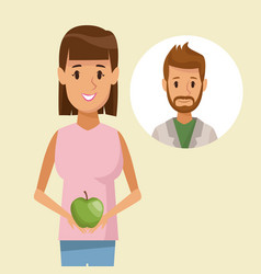 colorful poster half body woman holding an apple vector image