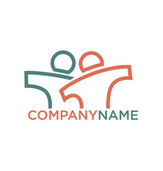 Company logo design with person silhouettes in vector