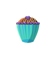 Cute cupcake with blueberry vector
