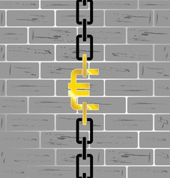 euro on brick wall vector image vector image