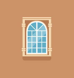 Flat classical arched window with decorated facade vector