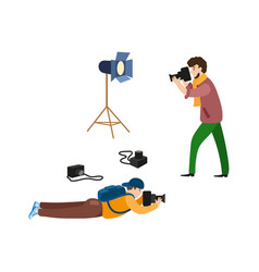 flat photographers and equipment set vector image vector image
