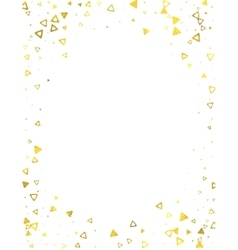 Gold glittering foil triangles on white background vector