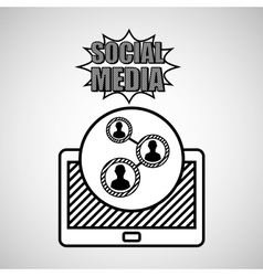 hand drawing group social media mobile vector image vector image
