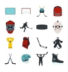 Hockey flat icons set vector image vector image