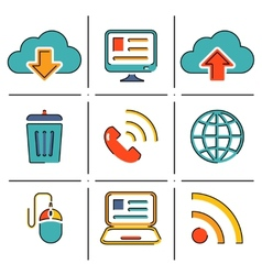 Internet network communication mobile devices line vector image