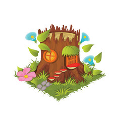 Isometric cartoon fantasy tree stump village vector