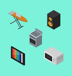 Isometric device set of stove television music vector