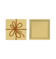kraft present box with rope vector image vector image